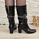 Демисезонные кожаные женские сапоги на невысоком устойчивом каблуке, фото 3