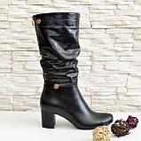 Демисезонные кожаные женские сапоги на невысоком устойчивом каблуке, фото 4