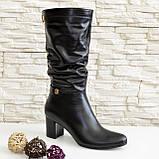 Демисезонные кожаные женские сапоги на невысоком устойчивом каблуке, фото 5