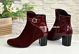 Жіночі бордові демісезонні черевики на невисокому каблуці. Натуральний замш і шкіра., фото 2