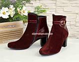 Жіночі бордові демісезонні черевики на невисокому каблуці. Натуральний замш і шкіра., фото 3