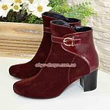 Жіночі бордові демісезонні черевики на невисокому каблуці. Натуральний замш і шкіра., фото 4