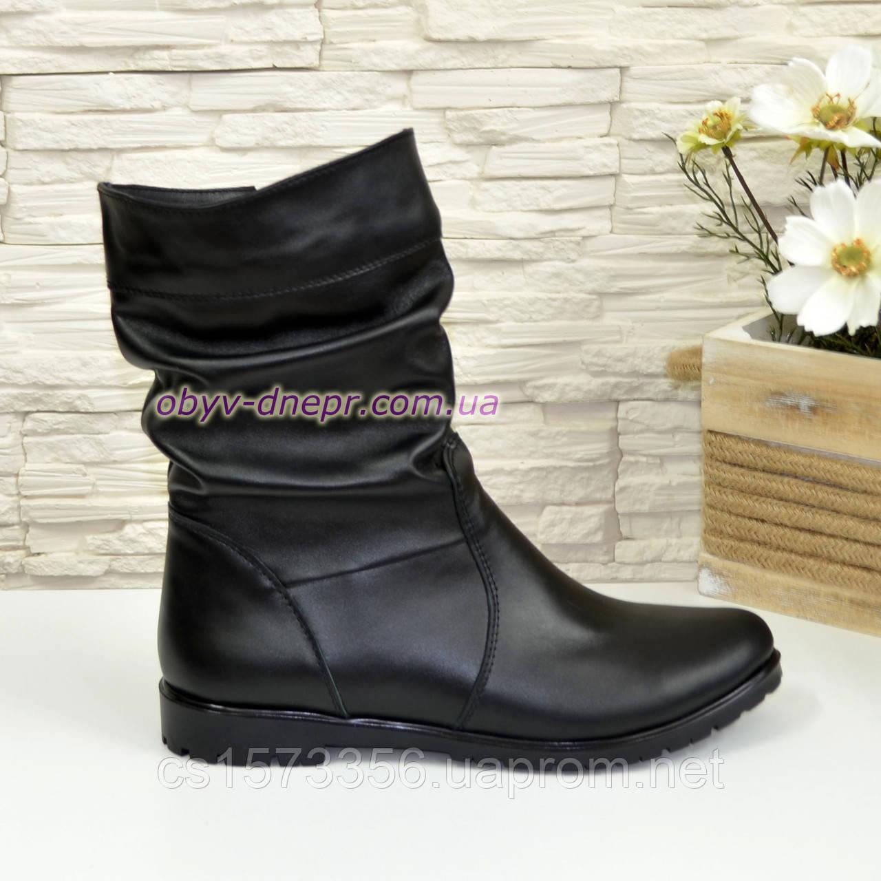 """Жіночі демісезонні черевики з натуральної шкіри чорного кольору ТМ """"Maestro"""""""