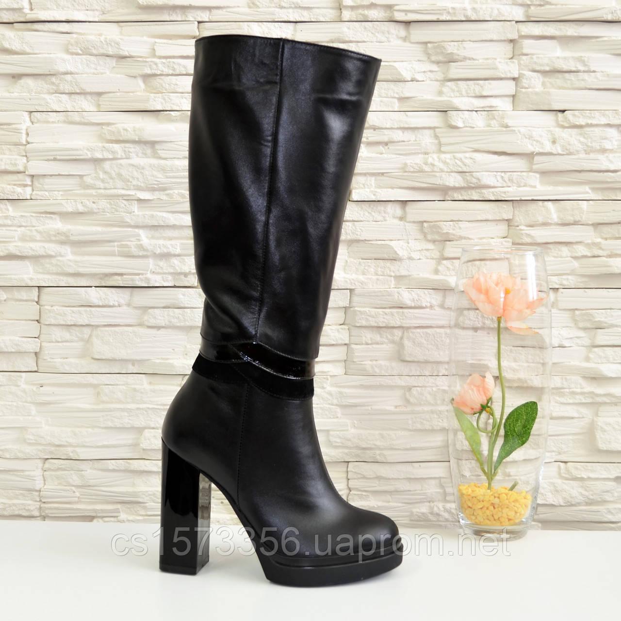 Жіночі демісезонні шкіряні чоботи на високих підборах, декоровані вставками з лакової шкіри і замші.