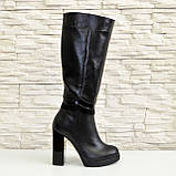 Жіночі демісезонні шкіряні чоботи на високих підборах, декоровані вставками з лакової шкіри і замші., фото 2