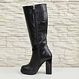 Жіночі демісезонні шкіряні чоботи на високих підборах, декоровані вставками з лакової шкіри і замші., фото 3