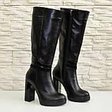 Жіночі демісезонні шкіряні чоботи на високих підборах, декоровані вставками з лакової шкіри і замші., фото 5