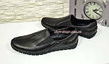 Туфли-мокасины кожаные мужские комфортные, цвет черный., фото 4