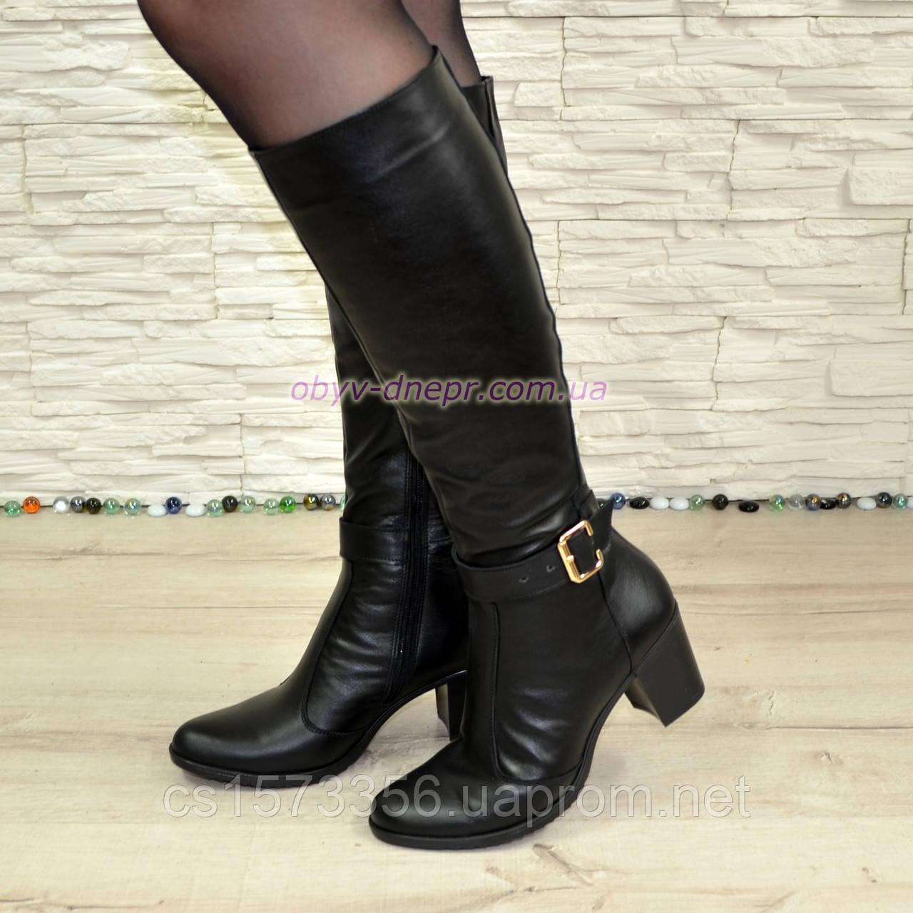 Сапоги женские кожаные, устойчивый каблук. Батал