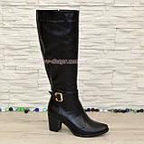 Сапоги женские кожаные, устойчивый каблук. Батал, фото 2