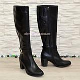 Сапоги женские кожаные, устойчивый каблук. Батал, фото 3