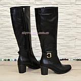 Сапоги женские кожаные, устойчивый каблук. Батал, фото 4