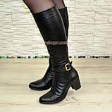 Сапоги женские кожаные, устойчивый каблук. Батал, фото 5