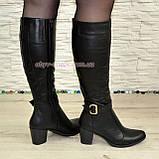 Сапоги женские кожаные, устойчивый каблук. Батал, фото 6