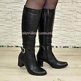 Сапоги женские кожаные, устойчивый каблук. Батал, фото 7