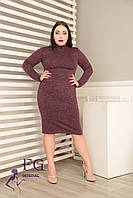 """Платье-гольф большого размера """"Crystall"""" 50, бордовый, фото 1"""