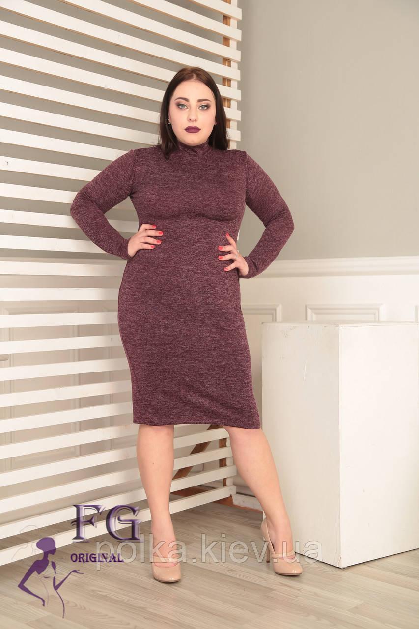 """Платье-гольф большого размера """"Crystall"""" 54, бордовый"""