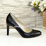 Женские классические кожаные черные туфли на шпильке! , фото 2