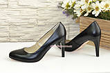 Женские классические кожаные черные туфли на шпильке! , фото 4