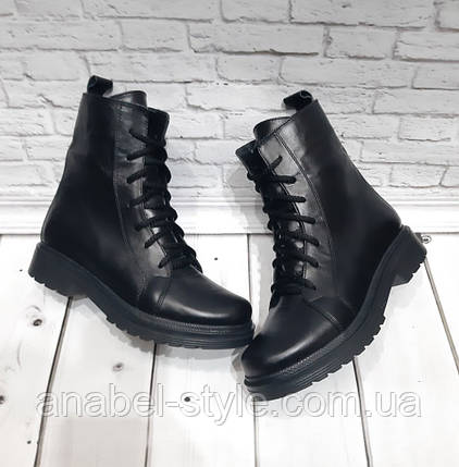 Ботинки-берцы короткие осенне-весенние натуральная кожа черные на шнуровке и утолщенной подошве Код 1945, фото 2