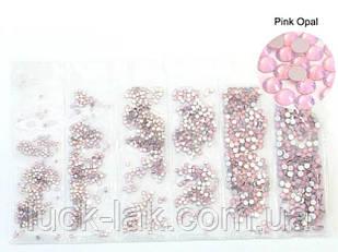 Стрази рожевий опал, упаковка 1584 шт, скло CRUSTAL мікс розмір