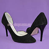 Туфли женские на шпильке, черный замш, фото 2
