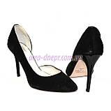 Туфли женские на шпильке, черный замш, фото 5