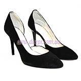 Туфли женские на шпильке, черный замш, фото 6