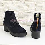 Жіночі демісезонні замшеві черевики на шнурівці, синій колір., фото 4