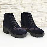 Жіночі демісезонні замшеві черевики на шнурівці, синій колір., фото 5