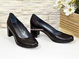 """Черные кожаные женские туфли на каблуке. ТМ """"Maestro"""", фото 4"""