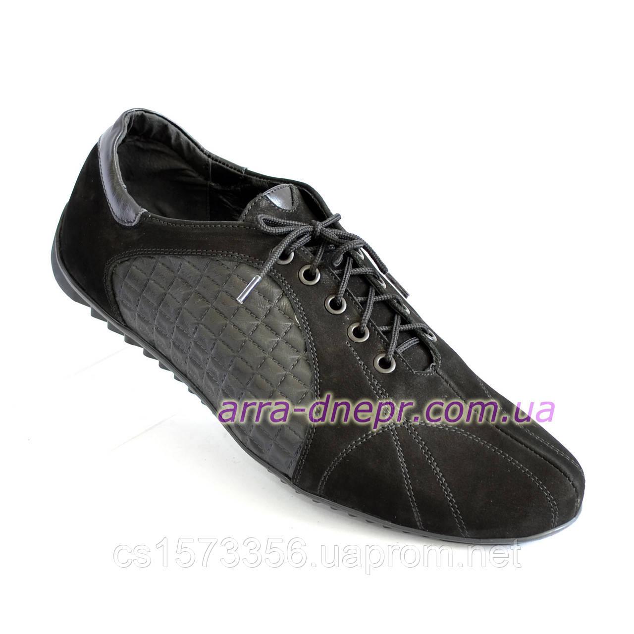 Туфли-кроссовки замшевые мужские комфортные, цвет черный