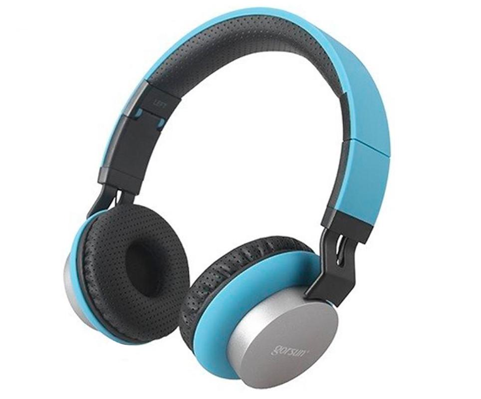 Наушники с Bluetooth GORSUN GS-E89 беспроводные синего цвета