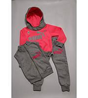 954946315434 Детский теплый спортивный костюм тройка Неон-2 для девочки на рост 80-90 см