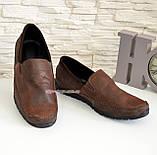 Туфли-мокасины мужские из перфорированной коричневой кожи, фото 2