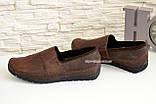 Туфли-мокасины мужские из перфорированной коричневой кожи, фото 3