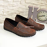 Туфли-мокасины мужские из перфорированной коричневой кожи, фото 4