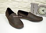Туфли-мокасины мужские из перфорированной коричневой кожи, фото 6