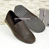 Туфли-мокасины мужские из перфорированной коричневой кожи, фото 7