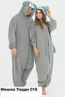 Кигуруми домашняя одежда Мишка Тэдди серый 016 (80-104)