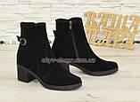 Ботинки черные женские замшевые демисезонные на устойчивом каблуке, фото 2