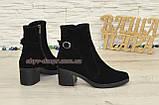 Ботинки черные женские замшевые демисезонные на устойчивом каблуке, фото 3
