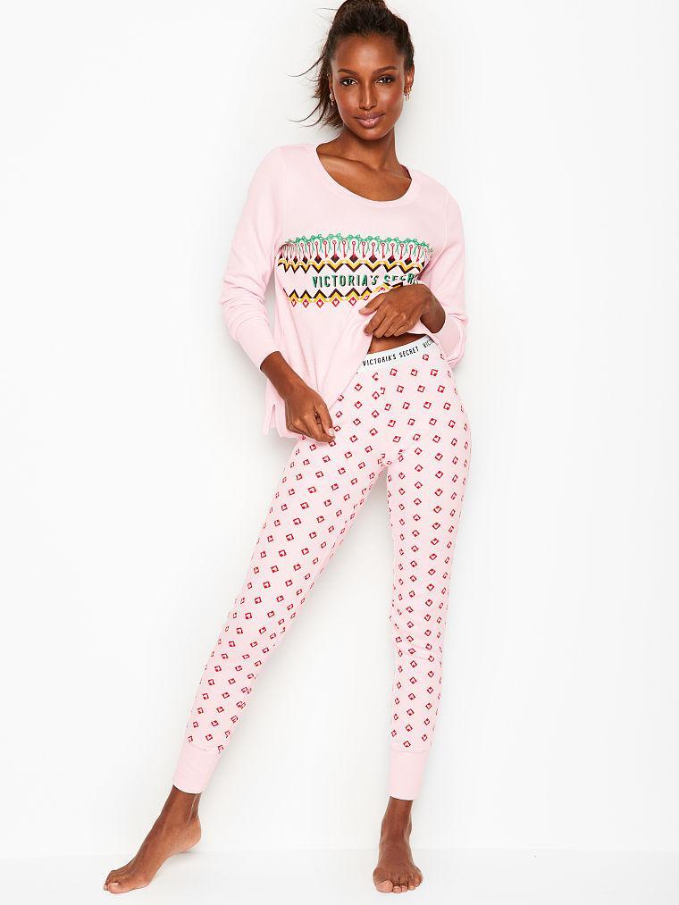 Victoria's Secret Теплая Пижама Thermal PJ XS, Розовый