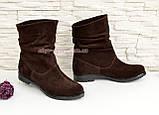 Ботинки коричневые женские замшевые демисезонные свободного одевания., фото 2