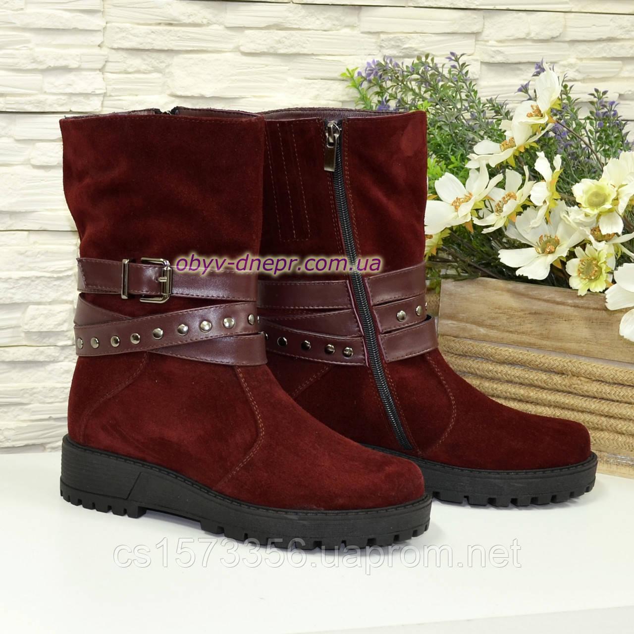 Черевики бордові жіночі замшеві туфлі на товстій підошві