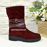 Черевики бордові жіночі замшеві туфлі на товстій підошві, фото 2