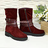 Черевики бордові жіночі замшеві туфлі на товстій підошві, фото 3