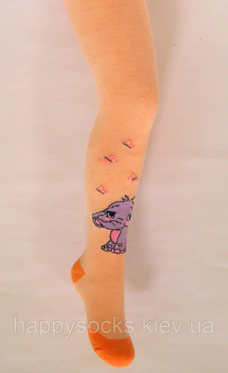 Теплые хлопковые махровые колготки персикового цвета со слоником