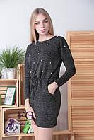"""Платье из ангоры """"Мартина"""" с карманами 46-48, черный, фото 1"""