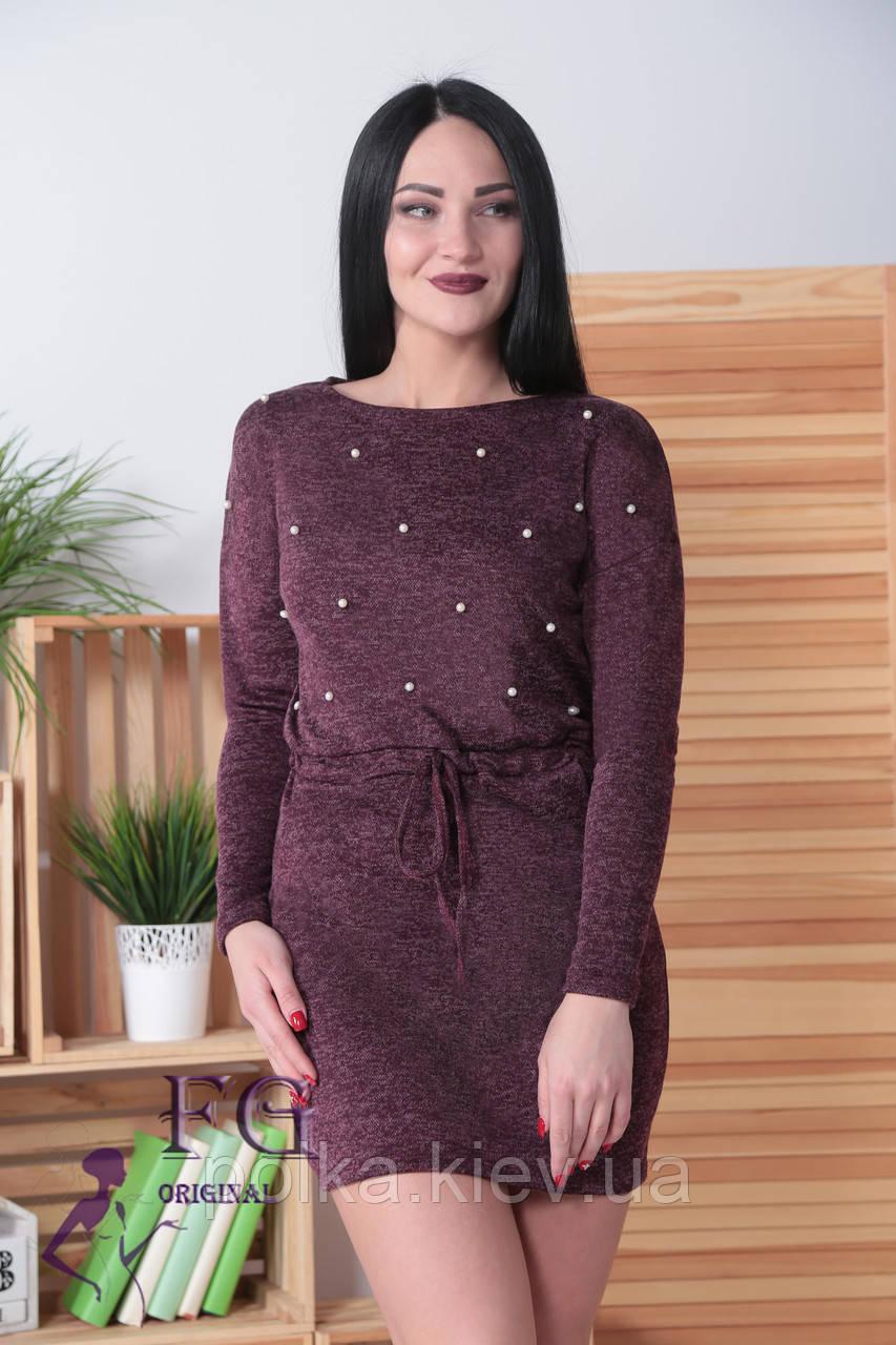 """Платье из ангоры """"Мартина"""" с карманами 42-44, бордовый"""